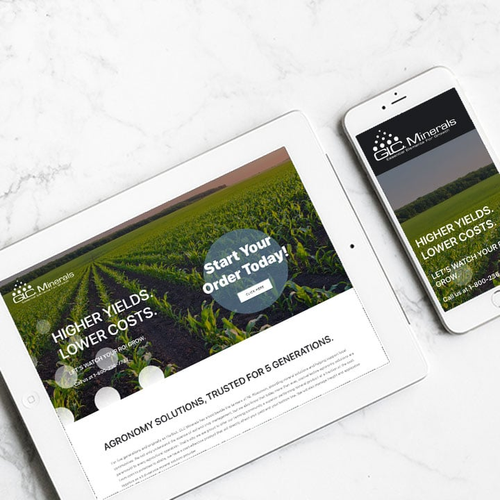 landing pages on ipad and phone